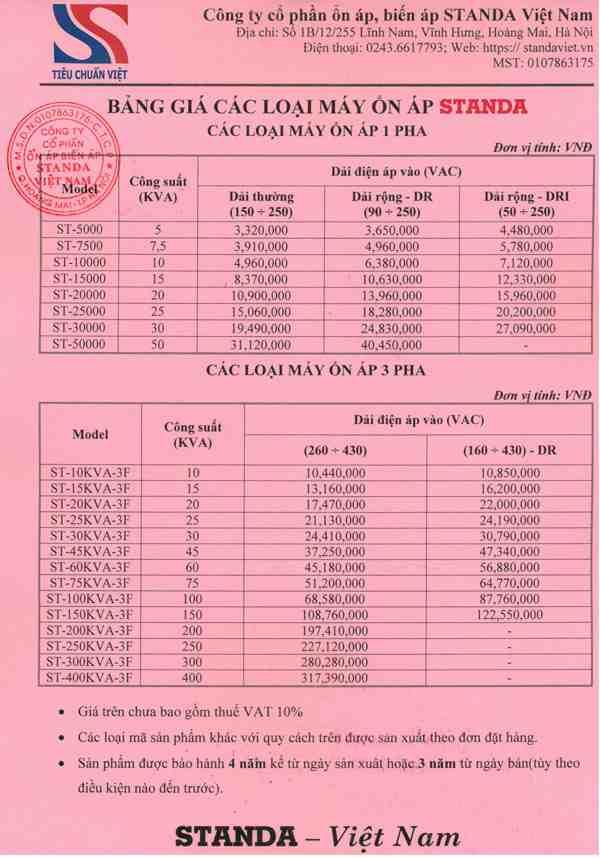Bảng giá ổn áp standa chính hãng Công ty Cp ổn áp biến áp Standa Việt Nam