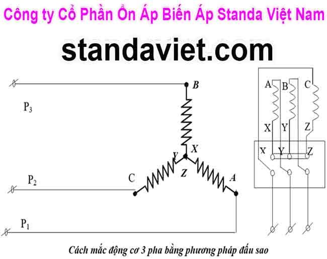 Cách đấu dây động cơ điện 3 pha đấu hình sao