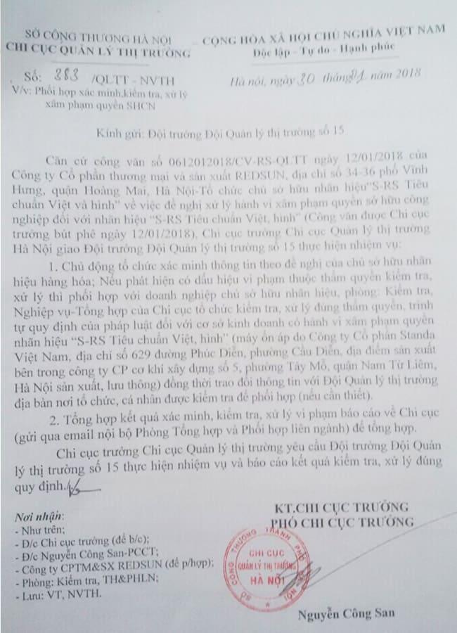 Công văn xử lý việc sâm phạm nhãn hiệu của Phó Chi Cục Quản Lý Thị Trường Hà Nội