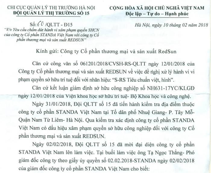 Đội Quản Lý Thị Trường số 15 ra công văn yêu cầu Công ty Cổ phần Standa Việt Nam_trang1
