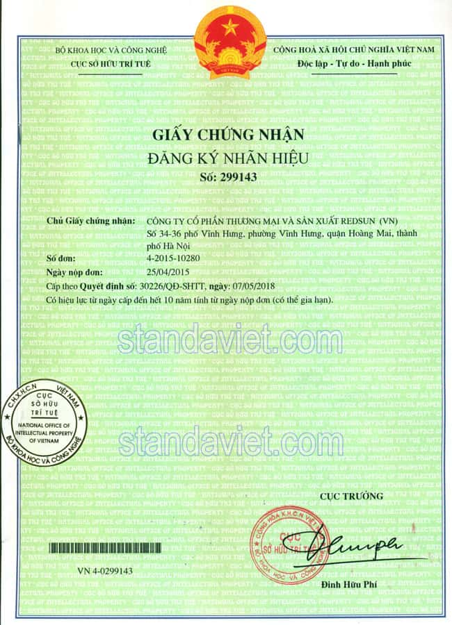 Giấy chứng nhận đăng ký nhãn hiệu trên ổn áp Standa số 299143 cấp bởi Cục Sở Hữu Trí Tuệ