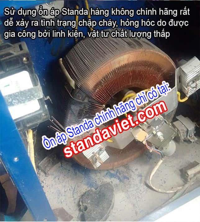 Ổn áp lõi dây nhôm hay ổn áp Standa 10kVA giả nhái nguy cơ chạm chập hỏng hóc rất cao